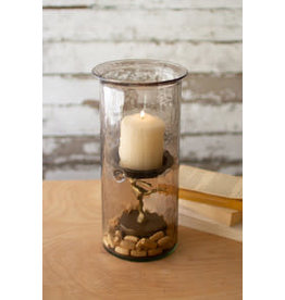 """mini smoked glass candle cyclinder with rustic base 12"""" cv1020a"""