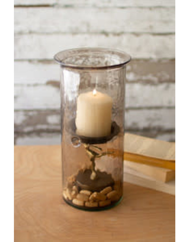 "mini smoked glass candle cyclinder with rustic base 12"" cv1020a"