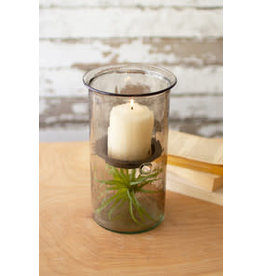 """Mini smoked glass candle cyclinder with rustic base 10"""" cv1021a"""