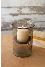 "MIni smoked glass candle cyclinder with rustic base 8"" cv1022a"