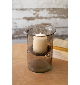 """MIni smoked glass candle cyclinder with rustic base 8"""" cv1022a"""
