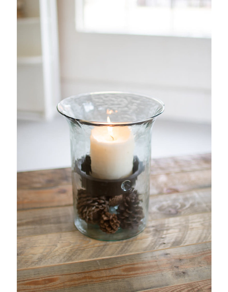 """none Glasscandle cylinder with rustic insert 11""""CV412"""