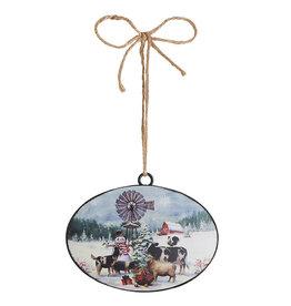 """3915974 6"""" Snowman on the Farm Disc Ornament"""