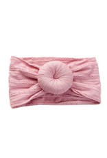 Dusty rose cable knit bun headband