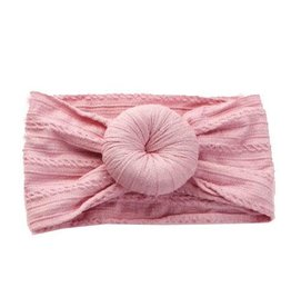 Dusty rose cable knit bun headband