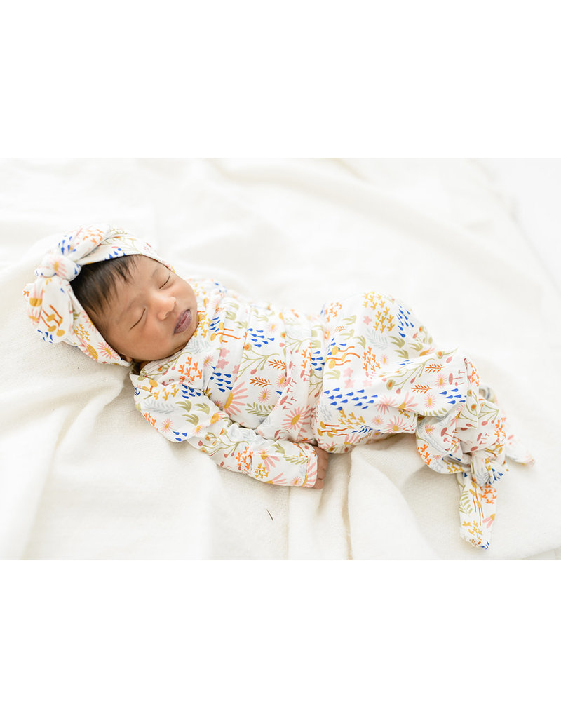 Floral baby gown & hat baby gift set