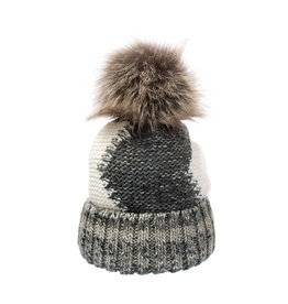 Villagehouse pewter cream beanie with faux fur pom 20221