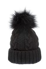 Villagehouse black cable weave beanie wwith faux fur pom 32506