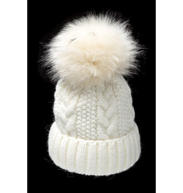 Villagehouse Cream cable weave beanie with faux fur pom 32501