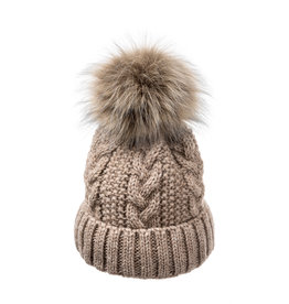 Villagehouse Beige cable weave beanie with fur pom 32502