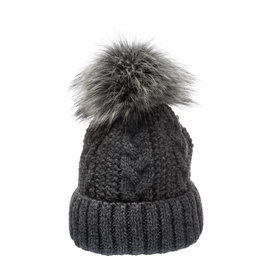 Villagehouse Dark grey cable weave beanie with faux fur pom 32504