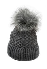 Villagehouse Dark grey beanie with fleece lining and faux fur pom 34325