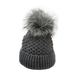Villagehouse Dark grey beanie with fleece lining and faux fur pom 34325