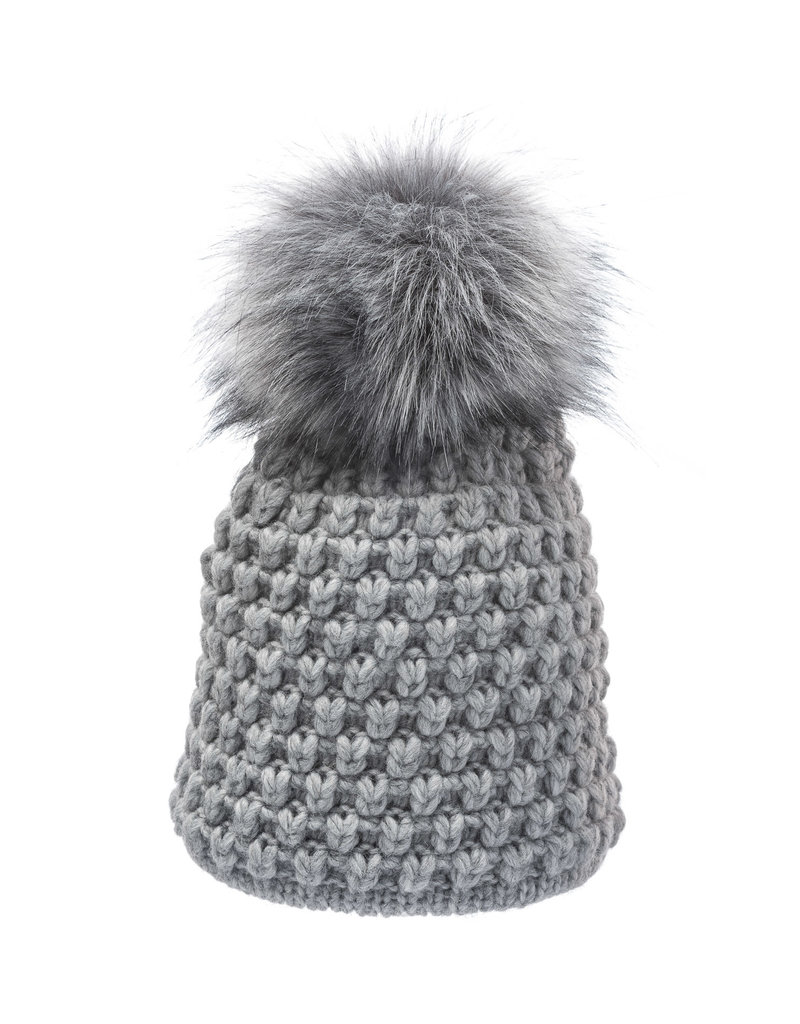 Villagehouse Light grey beanie with fleece lining and faux fur pom 33222