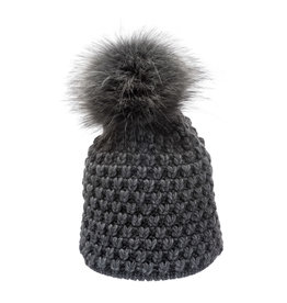 Villagehouse dark grey beanie with fleece lining and faux fur pom 33223