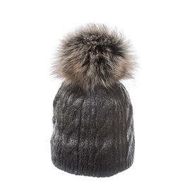 Villagehouse Charcoal beanie with faux fur pom 20083