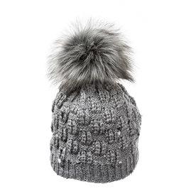 Villagehouse Grey tweed beanie with faux fur pom 20521