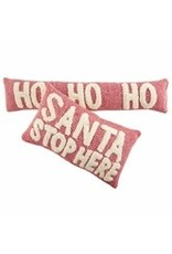 "Herringbone Christmas Pillow Santa Stops Here 12""x21"" -41600398S"