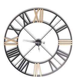 "48"" Open back black & gold metal wall clock"