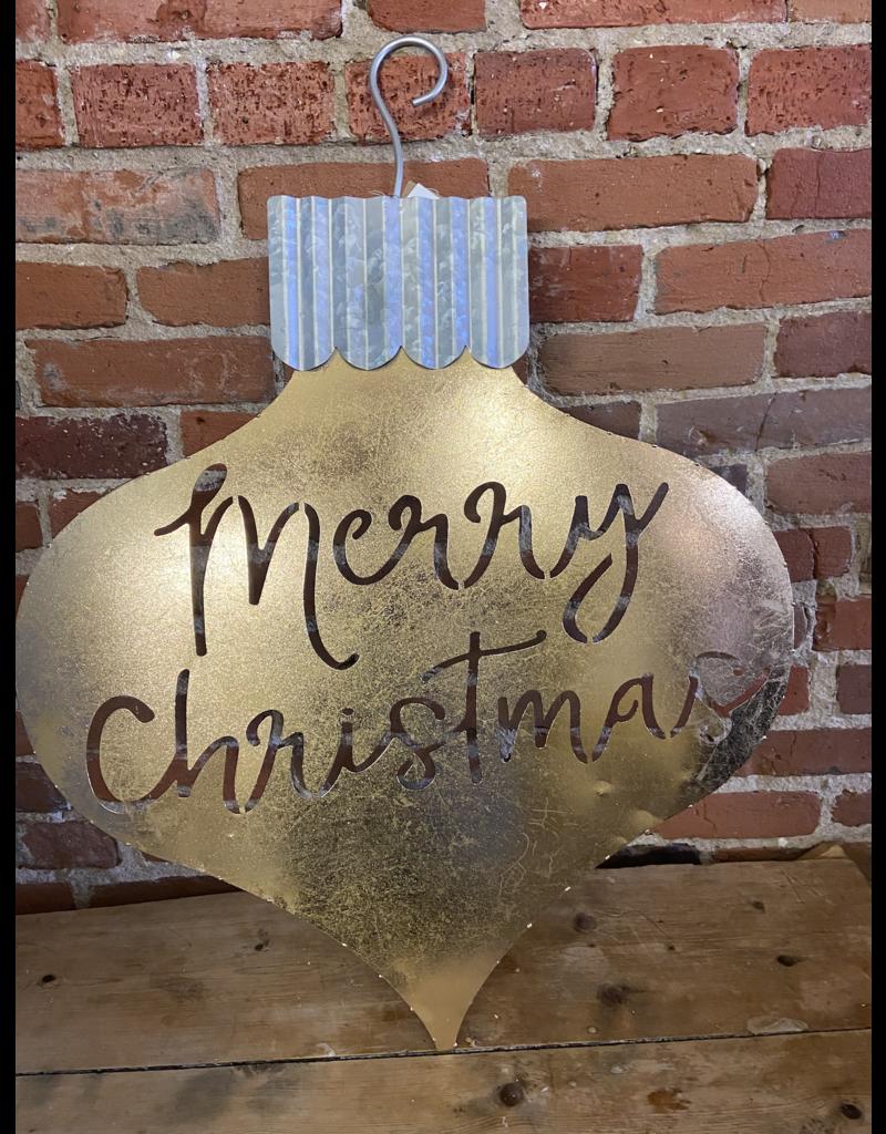 "Gold silver Merry Christmas Ornament tin door hanger 29"" x 24"""