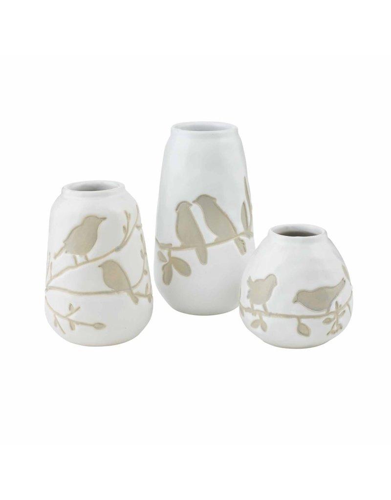 Bird watercolor vase