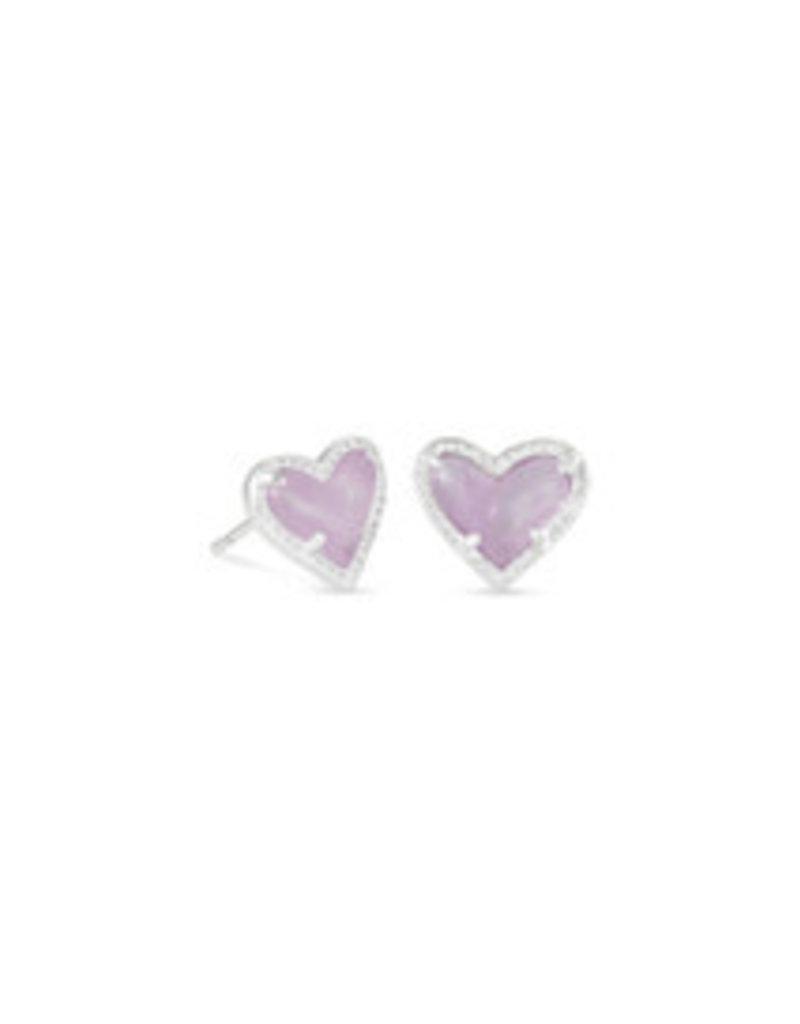 KENDRA SCOTT Ari heart stud earring rhod amethyst 4217717680