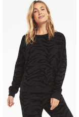 Marin tiger flocked sweatshirt- black zt20840