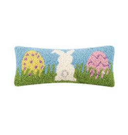"Bunny & Eggs hooked pillow 12x5"" 30tg437c050b"