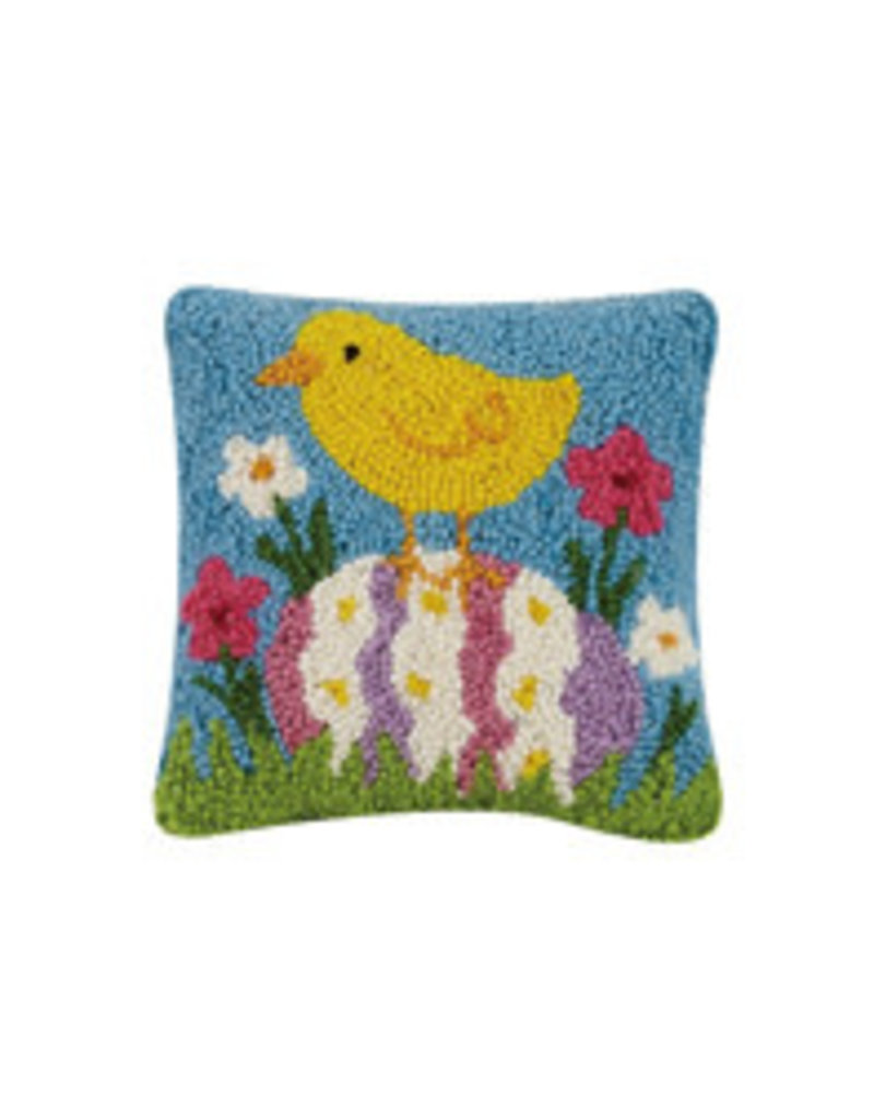 Easter chick hooked pillow 8x8 30tg491c08sq