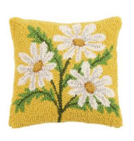 """Daisy hooked pillow 10x10"""""""