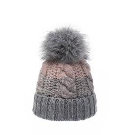 light grey/pink beanie with faux fur pom 35532