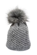 Grey confetti beanie with faux fur pom 20441
