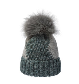 Platinum turquoise beanie with faux fur pom 216214
