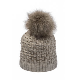 Beige/taupe  beanie with faux fur 216921