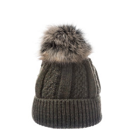 Villagehouse Forest green beanie with faux fur  2172014