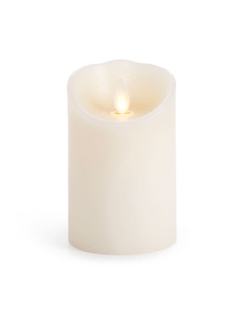 "3x4"" LED moving flame white pillar candle 994540"