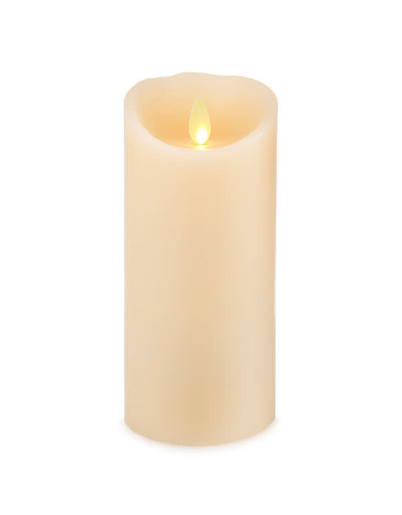 "3x8"" LED moving flame white pillar candle 994542"