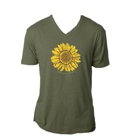 Happiness blooms green v-neck t-shirt