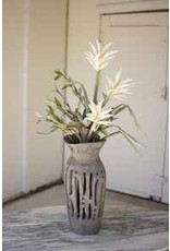 Carved wooden bottle vase