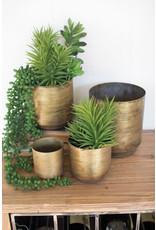 Aged brass finis metal flower pots
