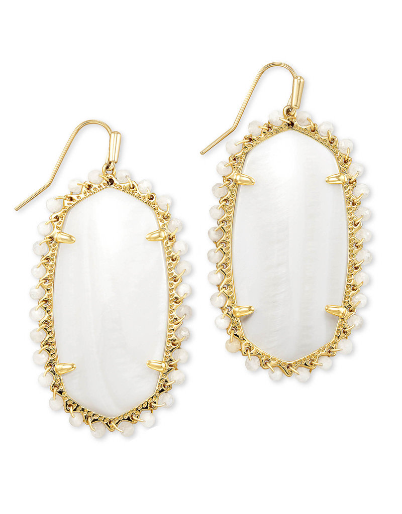 KENDRA SCOTT Beaded lee drop earring gold white mussel 4217718233
