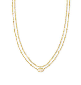 KENDRA SCOTT Emilie strand multi necklace gold irdscent drusy
