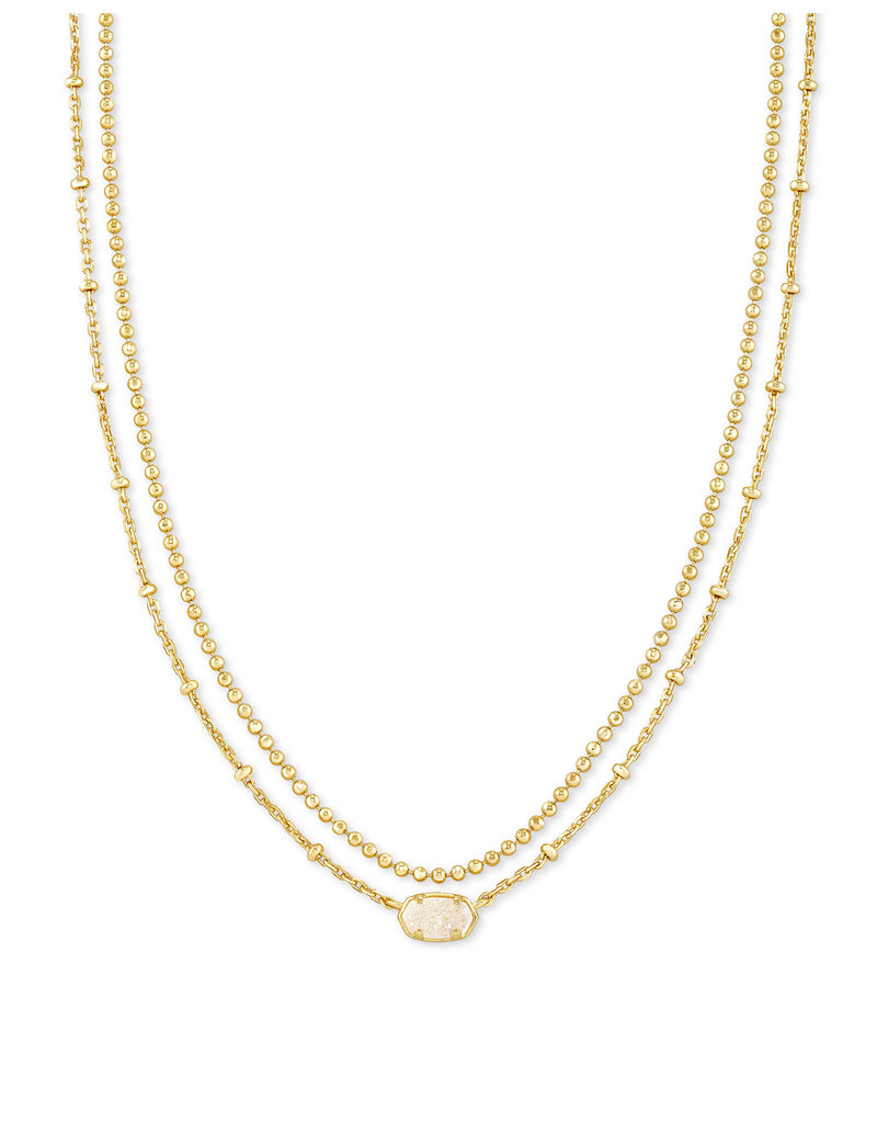 KENDRA SCOTT Emilie strand multi necklace gold irdscent drusy