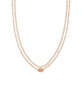 KENDRA SCOTT Emilie strand multi necklace rose gold drusy 4217718147