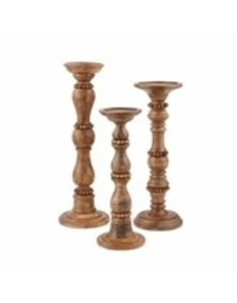 Large Beaded Wood Candlestick 40960005L