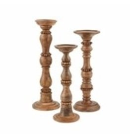 Small Beaded Wood Candlestick 40960005S