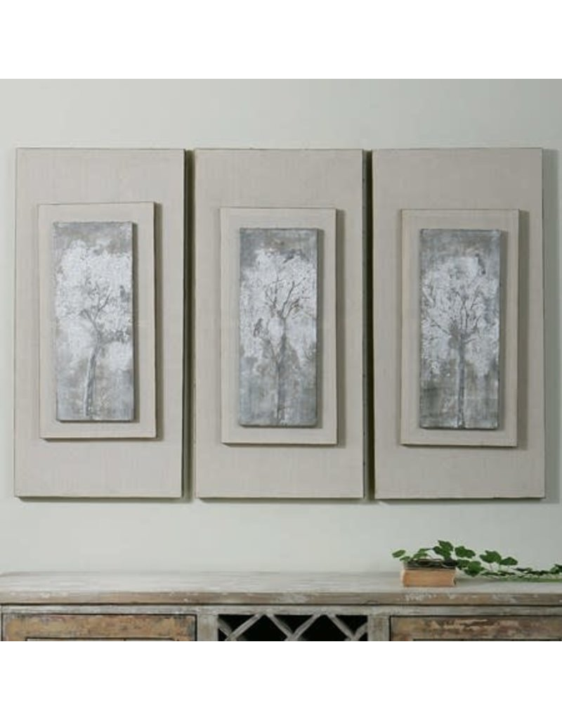 "UTTERMOST Triptych Trees Hand Painted Canvas (individual) 17""Wx36""Hx4"" D 41426"