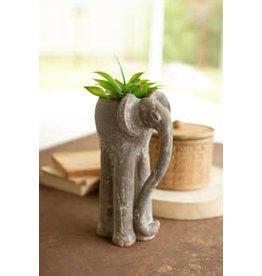 "Clay elephant planter 6""W x 10.5""H H4030"