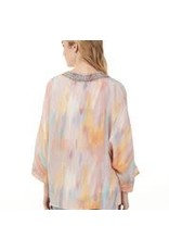 CHARLIE B Pastel kimono with embroidery tape c6114r/788a