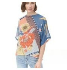 CHARLIE B Poppy cotton gauze shirt